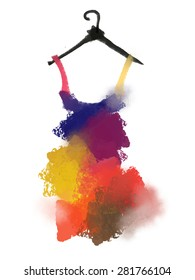 Colorful dress semi-abstract art illustration