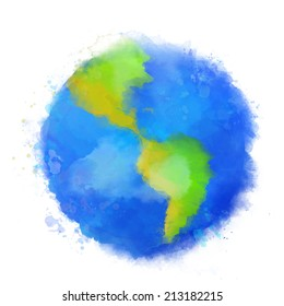 Colorful Earth illustration. Watercolor style with swashes, spots and splashes. Raster image.