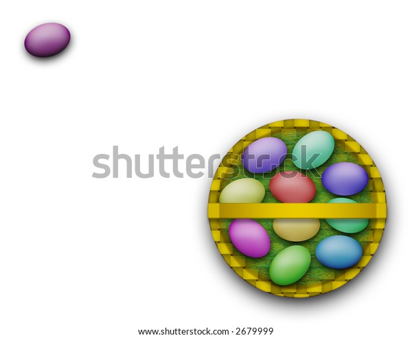 Colorful Easter basket isolated on a white background created entirely in Photoshop.