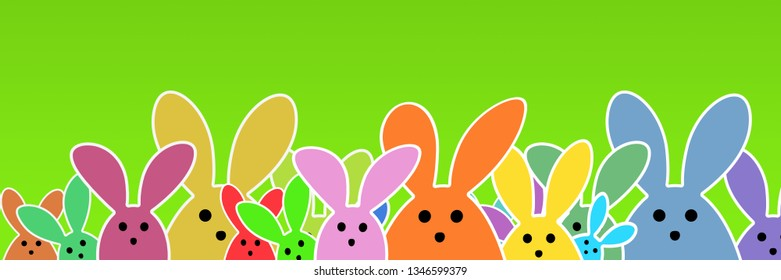 Colorful Easter Bunnies as illustration on green background. Group of cute Easter Rabbits background for the Easter season. Funny Easter Graphic.