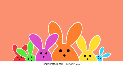 Colorful easter bunny as illustration on green background. Easter background for the colorful Easter season.