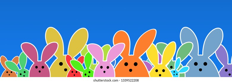 Colorful easter bunny as illustration on blue  background. Easter Rabbits background for the colorful Easter season.