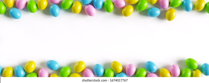 Colorful easter eggs border on white background with a large copy space. 3D render illustration.