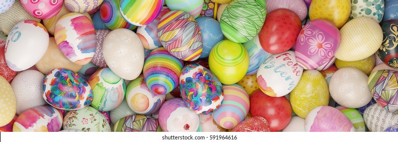 """Colorful easter eggs with german text """"Frohe Ostern"""" (merry easter) on one egg (3D Rendering)"""