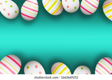 Colorful easter eggs on a green background with soft shadows