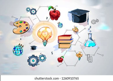 Colorful education sketch drawn blurred background. Concept of education and creativity. 3d rendering