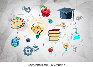 Colorful education sketch drawn on white wall with geometric pattern. Concept of education and creativity. 3d rendering