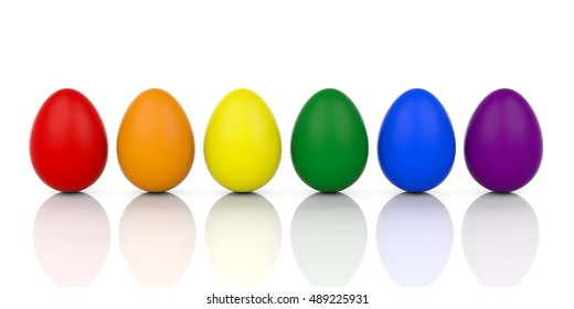 Colorful eggs, colors of rainbow, standing on white background