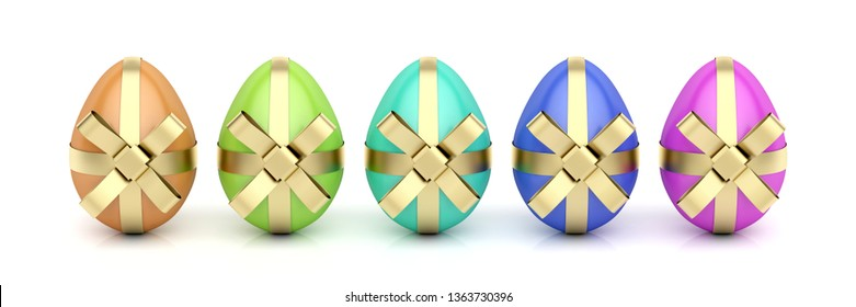 Colorful eggs with golden ribbons, Easter decoration. 3D illustration