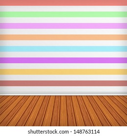 Colorful empty room, interior with wallpaper. High resolution texture background.