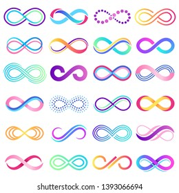 Colorful endless sign. Infinity symbol, limitless mobius strip and infinite loop possibilities. Endless eternal abstract possibility.  concept isolated signs illustration set