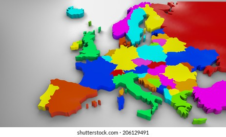 Colorful Europe 3d map, 2014 political distribution