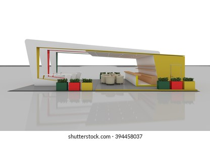 Colorful Exhibition Stand   3d rendering
