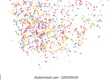 Colorful explosion of confetti. Grainy abstract  multicolored texture isolated on white background. Bitmap design elements. Raster copy.