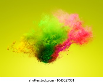 Colorful explosion of powder. Freeze motion of color powder exploding. Illustration