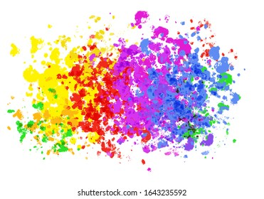 Colorful explosion of  yellow, red, pink and blue stain colors on white background. Digital abstract illustration artwork with copy space.