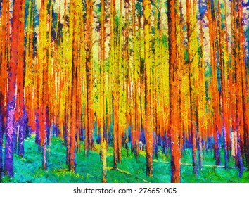 Colorful fairy forest psychedelic art oil painting