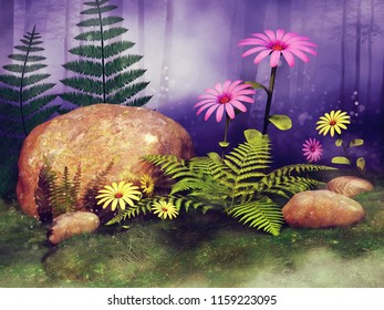Colorful fairy meadow with big rocks, fern leaves and flowers in a forest. 3D illumination.