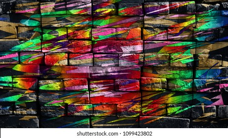 Colorful fantastic world. Virtual graffiti. Abstract image, drawn on a photo of a brick wall. Digital graphics by Igor Mishenev (artist-abstractionist).