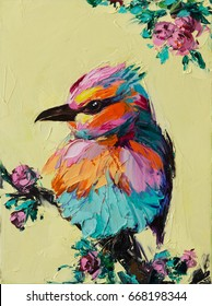 A colorful fantasy bird is sitting on a perch next to blossoms, Original oil painting on canvas,