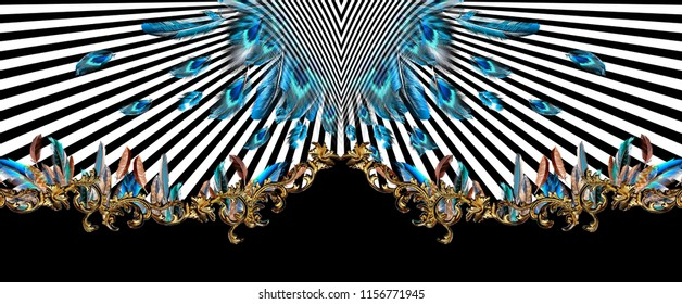 Colorful feather pattern with gold baroque and lines