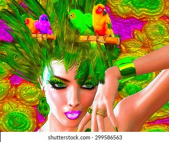 Colorful feathers, birds and floral patterns with a beautiful woman's face create this modern digital art look.
