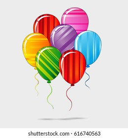 colorful festive striped balloons with ropes birthday party background
