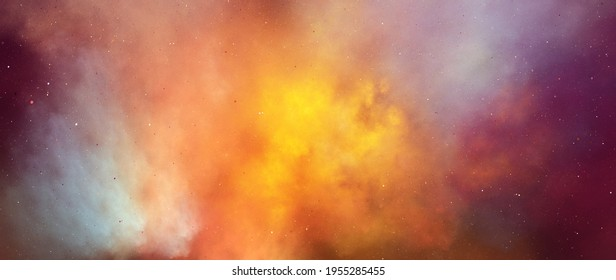 Colorful fiery nebula in deep space, computer generated abstract background, 3D rendering