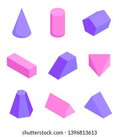 Colorful figures set various prisms templates raster illustration cylinder cone cuboid pentagonal triangular and trapezoidal pyramid shapes