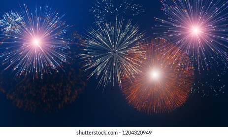 Colorful firework background.