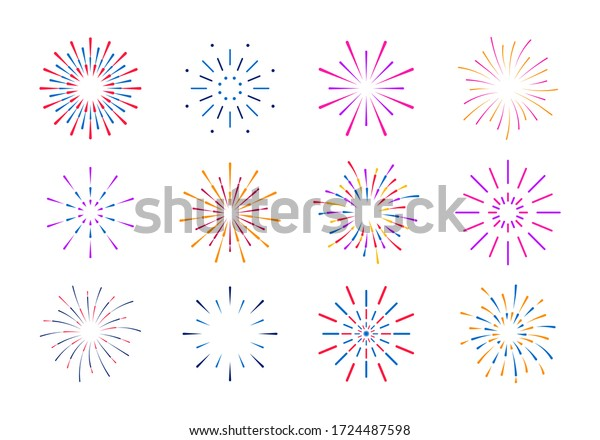 Colorful fireworks isolated on white background. Party, festival, feasts, multi-colored sky, fire, explosion stars. Celebrations birthday or Christmas.