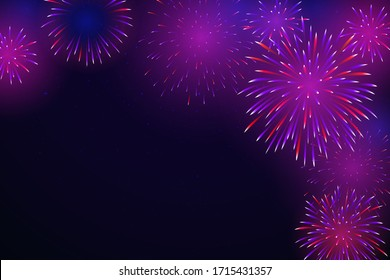 Colorful fireworks in the night starry sky. Bright fireworks on a dark background. Background for party, festive design. Illustration