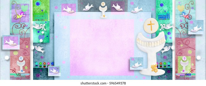 Colorful First Holy Communion invitation card with blank  space to write dates and put photo