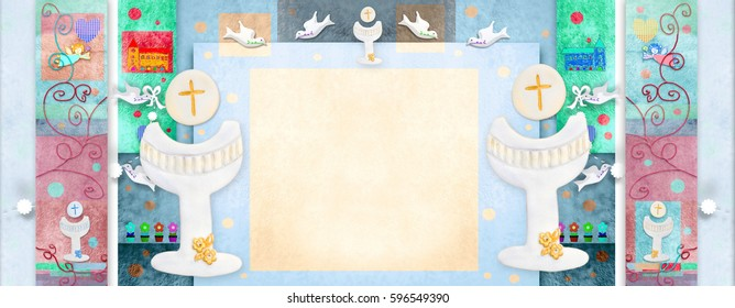 Colorful First Holy Communion oblong invitation with blank  space to write dates and put photo