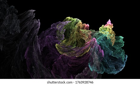 Colorful Flame Fractal Dark Ambient Geometric Swirl Realistic Image
