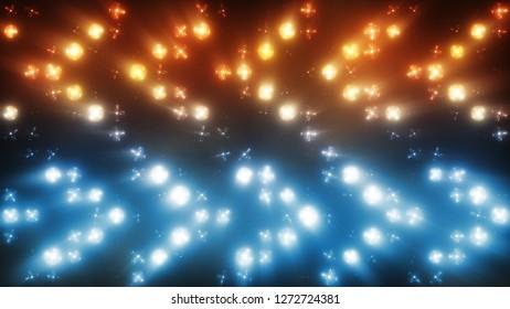 Colorful flashing lights with smoke bulb spotlight flood lights arrow vj led wall stage led display blinking lights. 3d illustration