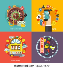 Colorful flat concept composition. Quality design illustrations, elements and concept. European roulette. Poker online. Casino online. Nightlife.