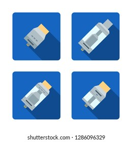colorful flat design illustrations various rebuildable drip and tank vape atomizers types RDA RDTA RBA RTA long shadow square blue icons isolated on white background