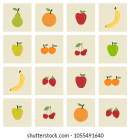 Colorful flat illustration of summer fruit icons./Fruit grid
