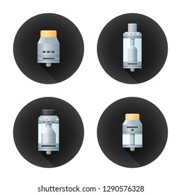 colorful flat realistic design illustrations various rebuildable drip and tank vape atomizers types RDA RDTA RBA RTA long shadow circle black icons isolated on white background