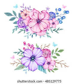 Colorful floral botanical collection with leaves and flowers, berries watercolor. Spring and summer design for invitation, wedding, birthday or greeting cards