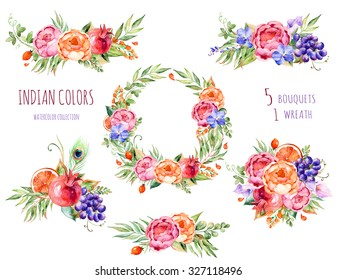 Colorful floral collection with roses,flowers,leaves,pomegranate,grape,callas,orange,orchids,peacock feather.5 beautiful bouquet and 1wreath for your own design.Floral collection.Indian Colors