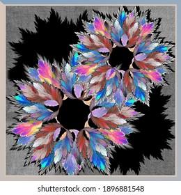 colorful floral fractal scarf pattern on black background