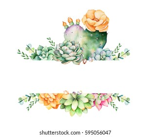 Colorful floral frame with leaves,succulent plant,branches and cactus.World of succulents and cactus collection.Perfect for wedding,frame,quotes,pattern,greeting card,logo,invitations,lettering etc