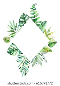Colorful floral rhombus frame with colorful tropical leaves. Tropical forest collection.Perfect for wedding,frame,quotes,pattern,greeting card,logo,invitations,lettering etc