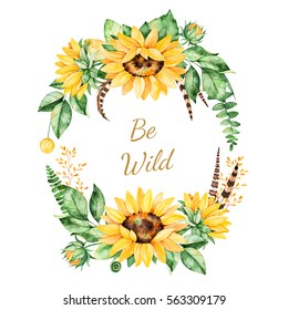 Colorful floral template card with sunflowers,leaves,foliage,branches,feathers and text..Perfect for wedding,quotes,Birthday,boho style,invitations,greeting cards,print,blogs etc
