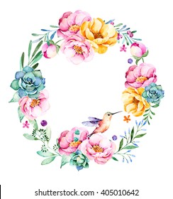 Colorful floral wreath with roses,flowers,leaves,succulent plant,branches,hummingbird and more.Lovely Bouquet collection.Perfect for wedding,frame,quotes,pattern,greeting card and more