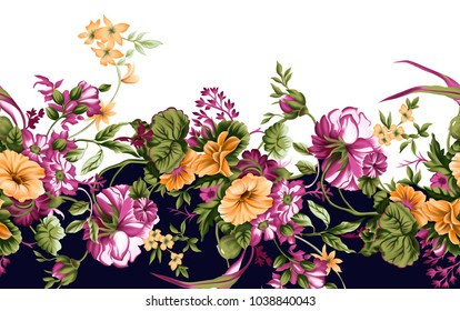 Colorful Flower Border Painted Flower