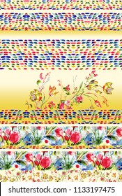 colorful  flower horizontal border withbackground