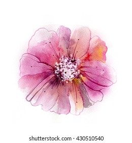 bud white flower watercolor painting stock illustration 122215222